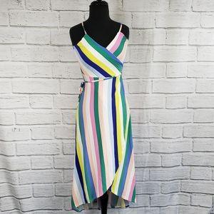 Love fire wrap striped spaghetti strap midi dress